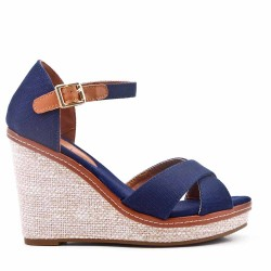 Faux leather wedge sandal for women