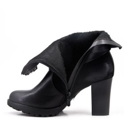 Black faux suede ankle boot with heel For fall and winter