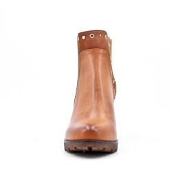 Camel imitation leather ankle boot with heel For autumn and winter
