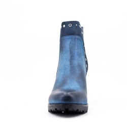Blue faux leather ankle boot with heel For autumn and winter