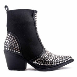 Black flat ankle boot in a mix of materials For autumn and winter