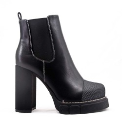 Imitation leather ankle boot with platform