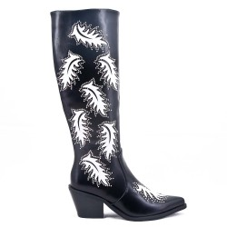 Black faux leather boot
