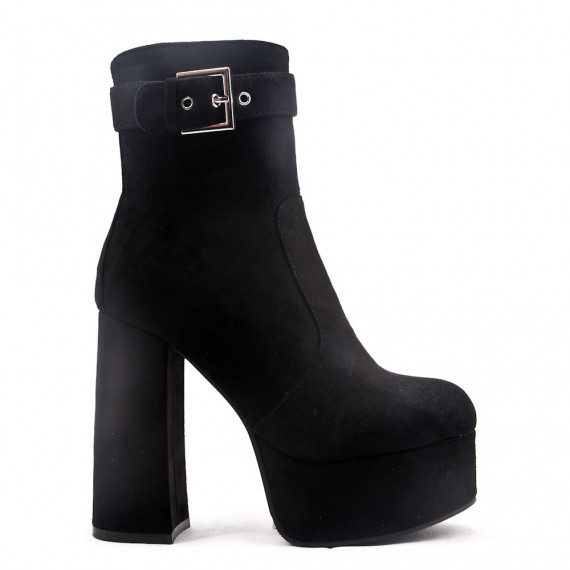 ankle boot in faux suede with heel and platform