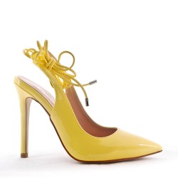 Faux leather patent heeled pump