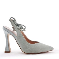 Suede leather pumps with heels