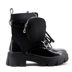 Black patent leather boot with thick soles