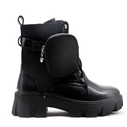Black faux leather boot with thick soles
