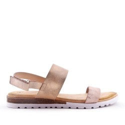 Flat faux leather sandal for women