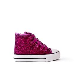 Fuchsia girl glittery girl with lace