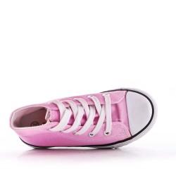 Cesta infantil rosa con cordones