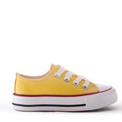 Cesta infantil con cordones amarillo