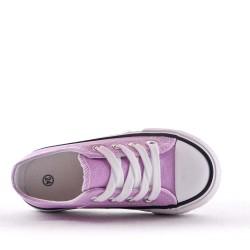 Basket violette enfant à lacet