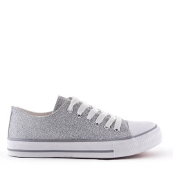 Women's textile glittery lace-up tennis