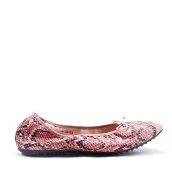 Plus size comfort ballerina with snake pattern print