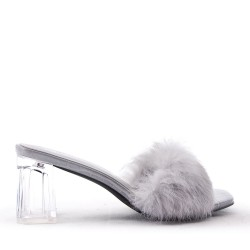 Faux leather heeled sandal with faux fur