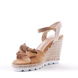 Wedge faux suede sandal with espadrille sole