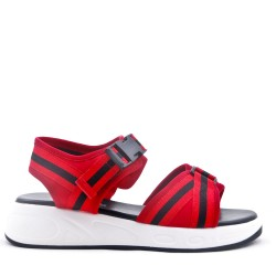 Textile wedge sandal