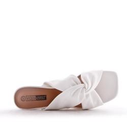 Sandale confort en simili cuir à petit talon