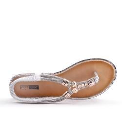 Grande Taille 38-43 - Sandale plate en simili cuir
