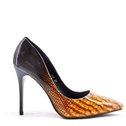 Snake print pumpkin in faux leather with heel