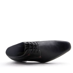 Lace-up faux leather derby
