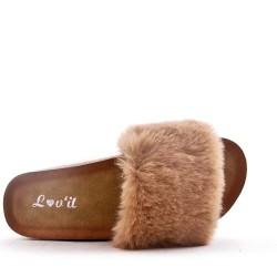 Sandale plat en fausse fourrure pour femme