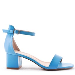 Sandal in faux suede with heel