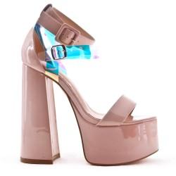 Patent high heel sandal