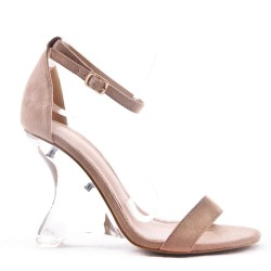 Sandal in faux suede with transparent heels