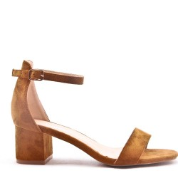 Sandal in faux suede with heels