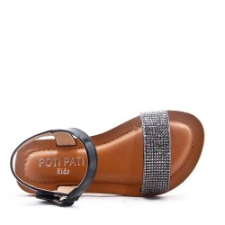 Girls' faux leather sandal decorated with rhinestones