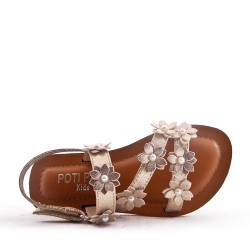 Girl's flat faux leather sandal with flower