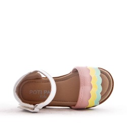 Tricolor girl's patent sandal
