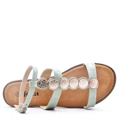 Faux leather sandal with glitter detail