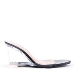 Sandale en simili cuir à talon transparent