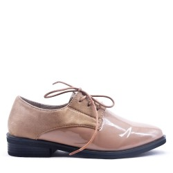 Faux leather derby for women