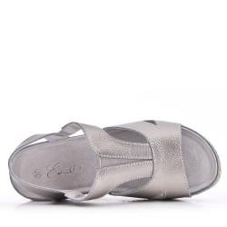 Sandale compensée en cuir pour femme