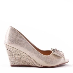Faux leather wedge pump