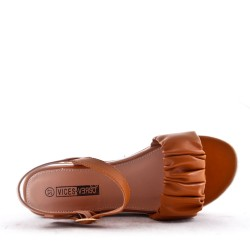 Faux leather wedge sandal