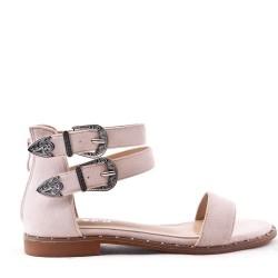 Sandalia de ante plana para mujer