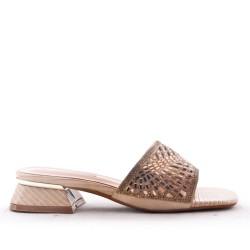 Mix-materials heeled sandal