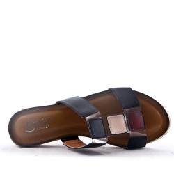 Claquette en simili cuir