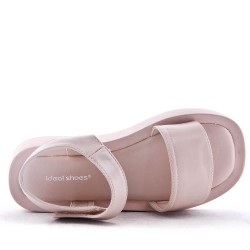 Sandale plat en simili cuir pour femme