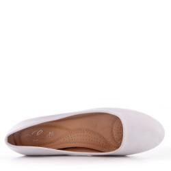 Escarpins blanc à talon en simili cuir pour femme