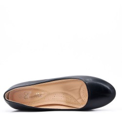Black leather heeled pumps for women