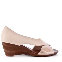 Sandale compensée en simili cuir pour femme