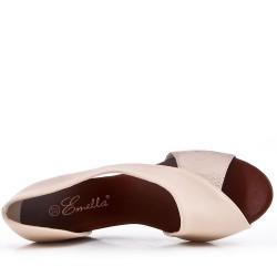 Sandale beige compensée en simili cuir pour femme