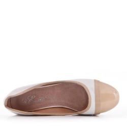 Escarpins beige à talon en simili cuir pour femme
