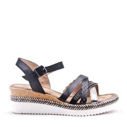 Sandale compensée en mix matières